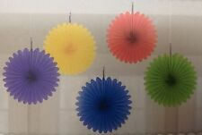 RAINBOW BIRTHDAY 80s HEN PARTY BABY SHOWER LUAU WEDDING HANGING FAN FANS x5!