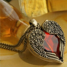 Women Retro Vintage Red Heart Crystal Wings Pendant Long Chain Necklace Jewelry