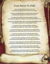 Parent to Child Verse Inspirational Poem Plaque Print Laminated (can be framed)