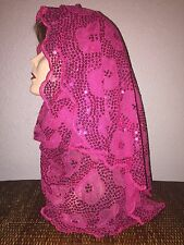 Long Hot Pink Wedding Scarf Hijab Wrap Sheer very pretty and fashionable!!!