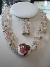 THREE STRAND MULTI PINK GLASS CHIPS BIG CERAMIC BEAD NECKLACE EARRING SET