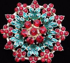 NIB LIZ CLAIBORNE POINSETTIA FLOWER HOLLY LEAF SNOWFLAKE PIN BROOCH JEWELRY 2.25