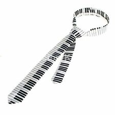 "White with Black Musical Notes Piano Keys 1 1/2"" Neck Tie-Piano Neck Tie-New!"