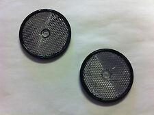 2 White/clr Round Reflectors, with screw hole, mounting on driveway post, etc.