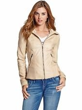 Guess Jacket Womens 'Jackie Tan' Faux Leather Moto Style Jacket L Light Tan NWT