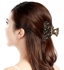 PINCE CRABE A CHEVEUX METAL STRASS BRONZE NOIR DECORATION FEMME