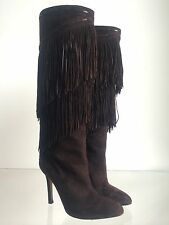 BRIAN ATWOOD SUEDE FRINGE KNEE HIGH BOOTS BROWN Size 36.5 6.5