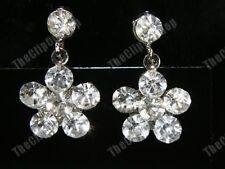 U CLIP ON crystal DIAMANTE flower SPARKLY DROP EARRINGS rhinestone pierce-look