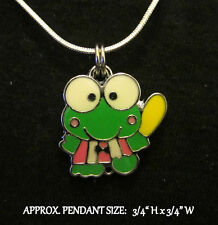 Green Frog Necklace Charm Steel Chain