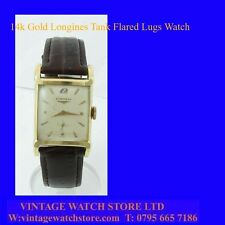 Stunning 14k Gold Deco Longines Gents Flared Lugs Watch 1954