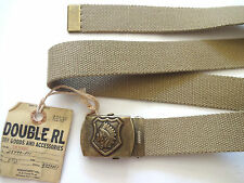 New Ralph Lauren RRL Military Khaki Indian Head Buckle 100% Canvas Belt 30