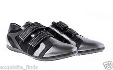 New VERSACE COLLECTION Black and Silver Leather Sneakers Shoes 42 - 9