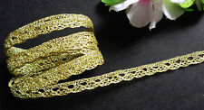 3/8 Inch Metallic Crochet trim ribbon gold color  selling by the yard