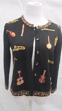 Terazzo Cardigan Sweater Small Musical Instruments Band Horn Piano Guitar Notes