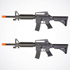 Lot of 2 Airsoft Guns M16 Rifle Spring Toy Gun Black Laser Scope Air Soft 1k BBs