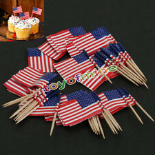 50pcs American Party USA Flag Cocktail Cupcake alimentaire Picks Sticks
