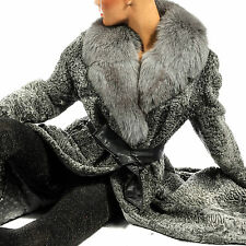 L - XL Persianer Pelzmantel Grau gray persian lamb fur coat Fox collar Fuchs