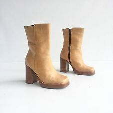 """Vintage 90s Candies Camel Brown Leather Platform Chunky 4"""" High Heel Ankle Boots"""