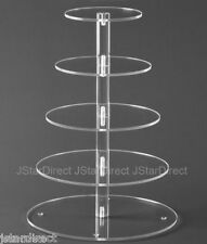 5 Tier Crystal Clear Acrylic Round Cup Cake Stand Tower Wedding Baby Shower deco