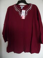 CATHY DANIELS SOFTLY HEATHERD BURGUNDY TOP  SZ  L   NWT