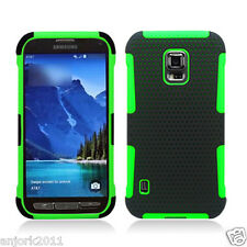 SAMSUNG GALAXY S5 ACTIVE G870A HYBRID MESH CASE SKIN COVER BLACK GREEN