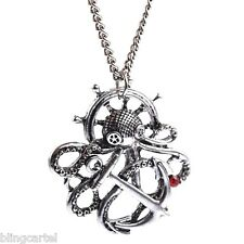 """Octopus Steampunk Necklace Silver Tone Nautical Antique Style Pendant 30"""" Chain"""