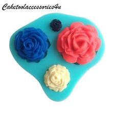 4 Misure Rosa, Fiore Stampo In Silicone Decorazione Torte Pasta Di Zucchero