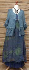 LAGENLOOK LINEN AMAZING BEAUTIFUL LACE QUIRKY JACKET*DUSTY BLUE*SIZE 16-18-20