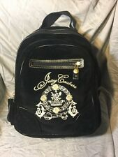 Juicy Couture RARE Backpack ~ Black Velour/Velvet ~ zippers pockets ~ school bag