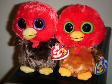 """Ty Beanie Baby Boos Set of 2 ~ GOBBLES & THANKFUL the 6"""" Turkey ~ NEW"""