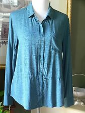 Banana Republic Wedgewood Blue/Black Dot Rayon Shirt Blouse Tunic LP