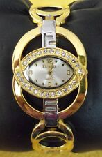 WOMAN'S FINESSE BRACELET WATCH SILVER & GOLD TONE CRYSTAL SURROUNDED DIAL CUTE!