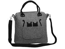 2 Känguru Katzen Handmade Handtasche Umhängetasche Geräumig Wollfilz Filz Grau