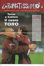 rivista GRANATISSIMO IL SETTIMANALE DEI TIFOSI DEL TORO 18/10/2003 NUMERO 1
