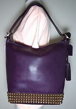 LEGACY LEGACY STUDDED VIOLET LEATHER DUFFLE SHOULDER BAG 26413