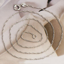 Womens Fashion Silver Necklace White Gold Plated Wave Wave Chain 18.1 inch