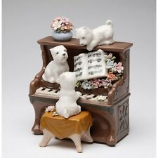 "NEW DOGS ON A PIANO BROWN & WHITE PORCELAIN "" PUPPY LOVE"" FIGURINE MUSIC BOX"
