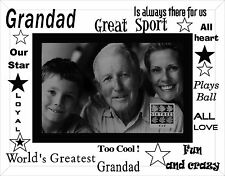 FATHERS DAY GLASS PICTURE FRAME BEST GRANDAD IN THE WORLD PHOTO FRAME 3-286-64