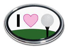"""I Heart """"Love"""" Golf Chrome Car or Truck Emblem Quality Made in the USA *NEW*"""
