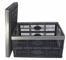 10 x Fold Flat Plastic Storage Crates Boxes Stackable 32 litre Black & Grey NEW