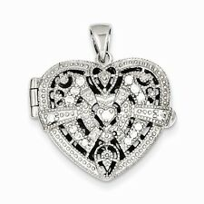 STERLING SILVER ANTIQUE STYLE SMALL CZ HEART LOCKET PENDANT CHARM  5.5 GRAMS