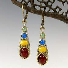 Michal Golan 24K Gold Plated Terra Long Drop Earrings Multi Gemstones Handmade