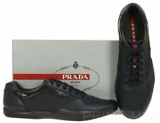 NEW PRADA MEN'S BLACK BLUE LEATHER NYLON CASUAL LACE-UP SNEAKERS SHOES 9/US 10