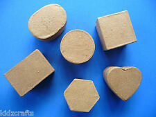 Paper Mache Trinket Boxes Square/Hexagon/Circle/Oval/Rectangle/Heart 5x3cm PK 6