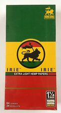 Full Box Irie extra light cigarette rolling papers hemp made 1 1/4 1.25 Rasta 24