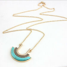 Natural Turquoise Pendant Long Chain Necklace Women's 14k Gold Plated Jewelry