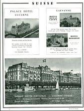 """Publicité Ancienne """" Voyage Suisse Grand Hotel National  1959 """" ( P 33)"""