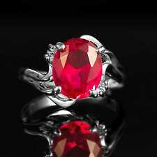 MYCX18 3.05ct Natural Ruby 14K White Gold Ring Cut:8*7MM Size US 6