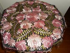 Antique Matyo hand embroidered silk table cover.