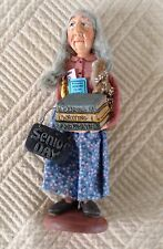 "FOLK ART FIGURE OF A LADY ""Senior Day"" HAIR-ARMS MOVE-PURSE-BOOK BY HARRISON '96"